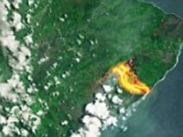 jaw-dropping photos show kilauea's lava flows from space as 82 homes are consumed