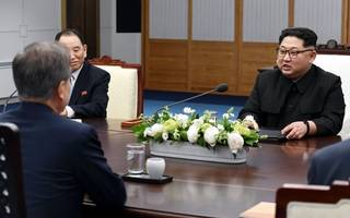 South and North Korean leaders in surprise meeting today