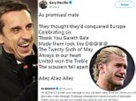 gary neville mocks liverpool with song lyrics about their champions league final defeat