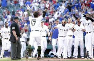 WATCH: Choo hits record-setting home run Rangers 4-3 walkoff win over the Royals in 10 innings