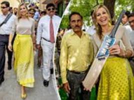 queen maxima visits a cricket factory on her second day in india