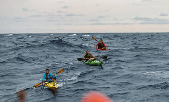 3 kayakers paddle from cuba to florida to promote open borders - the first documented unsupported single kayak crossing from havana to key west.