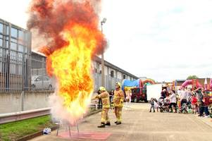 firefighters put on chip pan demonstration at waltham abbey open day