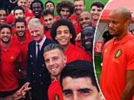 belgium squad pose for picture with country's king of before world cup