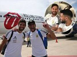 lionel messi and argentina team fly on the rolling stones' private jet