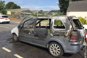woman flees car fire as her vauxhall zafira bursts into flames on major gloucestershire road