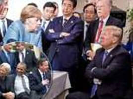 don jr compares pictures of trump smug at german chancellor merkel and obama smiling at g7 leaders