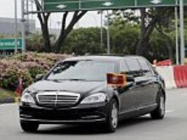 Kim Jong-un leaves Singapore in his $2million armor-plated Mercedes