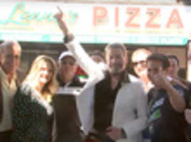 john travolta wigs out at classic brooklyn 'saturday night fever' pizzeria