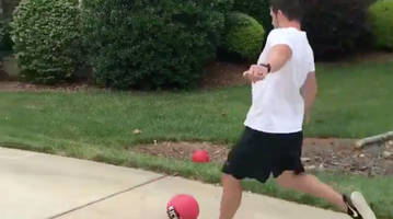watch: panthers kicker graham gano is a kickball cheat code and his wife knows it's not fair