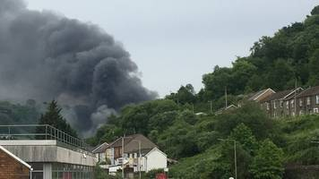 Pontypridd fire: homes evacuated and roads closed