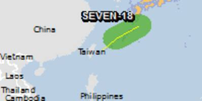 Green alert for tropical cyclone SEVEN-18. Population affected by Category 1 (120 km/h) wind speeds or higher is 0.