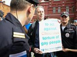 brit gay rights campaigner peter tatchell arrested in moscow after one-man protest outside kremlin