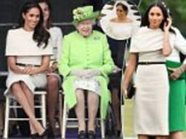 meghan markle wears givenchy for first joint outing  with the queen