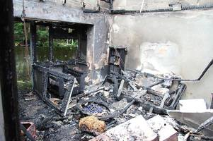 truro fire - pictures show the devastation inside the bungalows at merrifield close