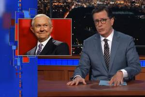 colbert throws the bible back at jeff sessions: vladimir putin picked you, not god (video)