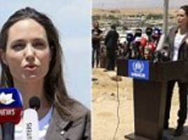 Angelina Jolie visits Iraqi camp for refugees fleeing war in Syria