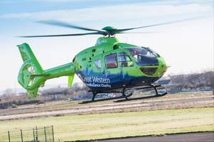 Air ambulance at medical emergency in Gloucester