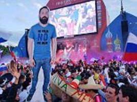 Mexicans take cut-out of pal to World Cup wearing T-shirt saying: 'My wife didn't let me go'