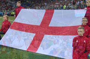 Watch England's fans and players sing their national anthem at the FIFA World Cup