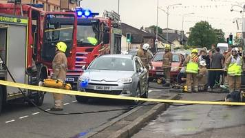 firefighter injured dealing with a fire in whitburn