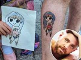 canadian marks father's day by getting his daughters' doodles of wonder woman and r2d2 inked on him