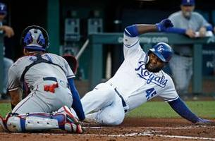 royals offense blanked late, fall 6-3 to rangers