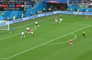 Russia takes a 1-0 lead on an own goal by Egypt