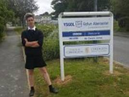 schoolboy, 16, turns up for lessons wearing a skirt after being sent home for wearing shorts