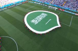 Watch Saudi Arabia players and fans sing their national anthem