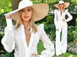 kimberley garner oozes summer chic in plunging white blouse at ascot