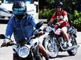 f1 rivals lewis hamilton and sebastian vettel arrive on motorbikes ahead of france gp
