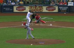 watch: brewers' shaw scampers home on wacky wild pitch