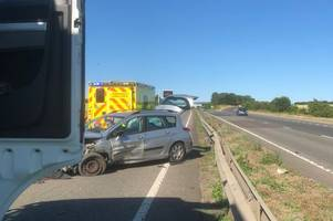 tailbacks of over an hour on eastbound a14 following collision