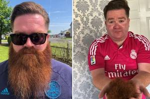 east kilbride fundraiser shaves off eight-inch beard in aid of dementia care group