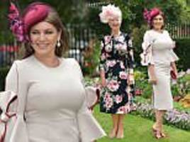 kelly brook sheathes hourglass curves in cream dress at royal ascot