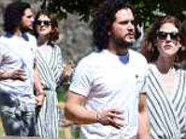 kit harington and rose leslie seen for first time since their wedding