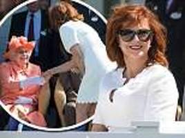 the moment the queen and duke of edinburgh met hollywood star susan sarandon