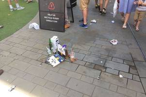 world cup england v panama victory: fans sour mood as they dump bottles and cans on bath street