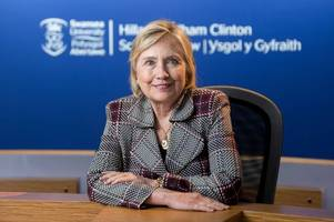 hillary clinton has made a secret unannounced second visit to swansea