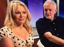 jeremy corbyn is busted as he tries to sneak a peak at pamela anderson live on good evening britain
