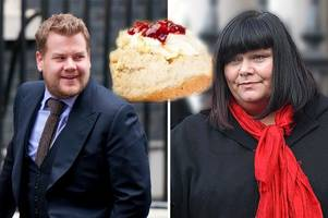 james corden and dawn french row on twitter over how to make a cream tea