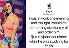 woman caught her boyfriend cheating with the help of jimmy john's