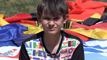 autistic teenager flies a flag every day