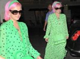 lily allen turns heads in a vibrant lime green dress and shades as she heads for dinner