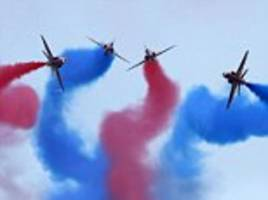 f-16s, red arrows and wildcat helicopters perform daring acrobatics