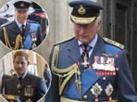 prince charles proudly displays medals at raf centenary service