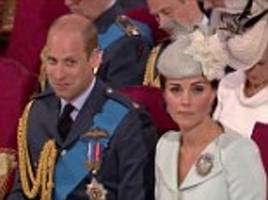 prince william struggles to contain his giggles during raf centenary service