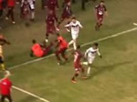 brazilian league match descends into chaos as mass brawl sees five red cards handed out