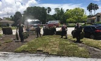 firefighters, emts save man's life then return to finish his yard work